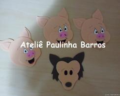 Apliques Lobo Mau e os 3 Porquinhos