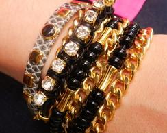 Bracelete Mix Pulseira Preta Ouro �m�