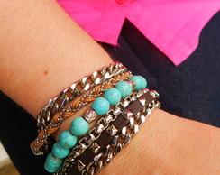 Bracelete Mix Pulseira Azul prata �m�