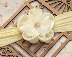 Faixa De Beb� Flor Rafaela Off White