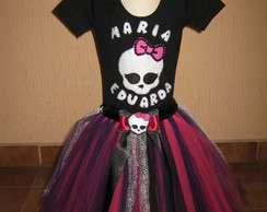 Fantasia de tutu Monster High com nome