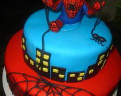topo de bolo homem aranha em biscuit