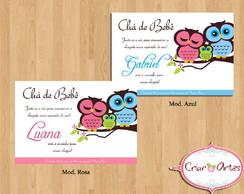 Convite Ch� de Beb� Fam�lia Coruja