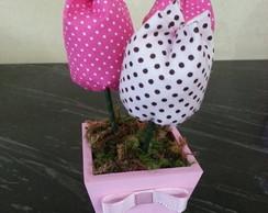 Vasinho com tulipas de tecido