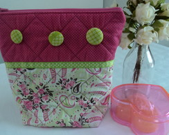 N�cessaire Pequena Pink Verde Lim�o
