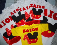 Camiseta Do Mickey para fam�lia