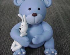 Topo De Bolo - ursinho azul com coelho