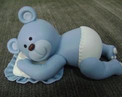 Topo De Bolo - Ursinho Azul Deitado