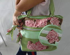Bolsa floral com n�cessaire