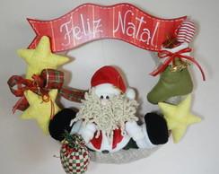 Guirlanda de Natal Papai Noel e estrelas
