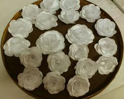 Flor de cetim duchese branco tamanho peq
