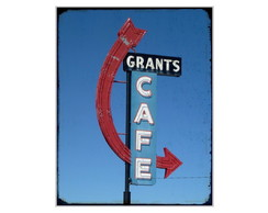 Placa MDF Retr�- Grants Cafe - 66 - 633