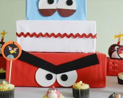 Bolo artificial Angry Birds em tecido.