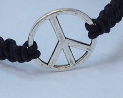 Pulseira paz prata envelhecida