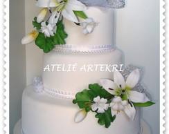 Bolo Fake Casamento L�rios (LOCA��O)
