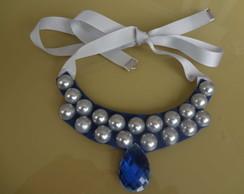 Maxi colar azul e prata