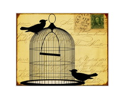 Placa MDF Retr�- Retr� Birds Card - 661