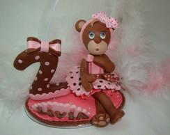 topo ursinha marrom e rosa