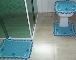 Jogo de Banheiro Flor Azul - Barbante