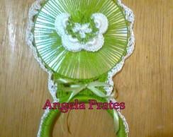 Porta pano de prato verde com borboleta