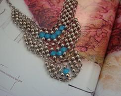 Maxi Colar Prata Cristal Azul