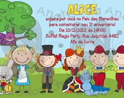 Convite Alice No Pa�s Das Maravilhas