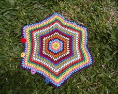 Almofada Hex�gono gigante em Crochet