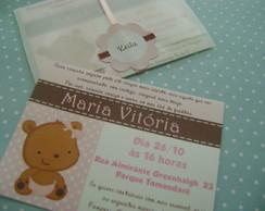 Convite Ursinha Rosa e Marrom