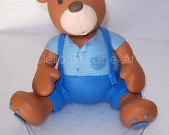 Urso Azul e Marrom em biscuit