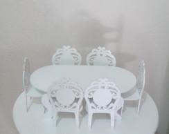 Conjunto de mesa mini c/ seis cadeiras