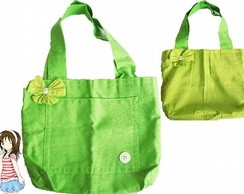 Bolsa verde-lim�o dupla face