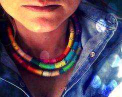 Colar Triplo Multicolor