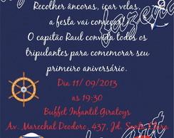 Arte digital convite Urso Marinheiro