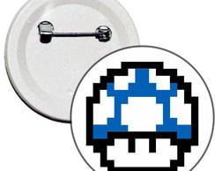 Boton 4,5cm Cogumelo Azul Mario Bros