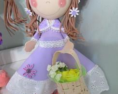 Boneca - com cesta de flores