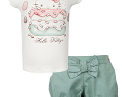 Conjunto Hello Kitty Donuts Off-White/Ve