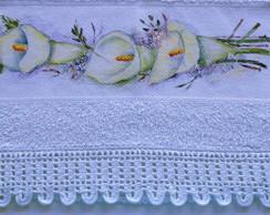 Toalha pintada a m�o: L�rios
