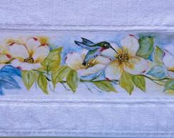 Toalha pintada a m�o: Beija-flor
