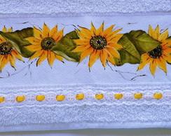 Toalha pintada a m�o: Girass�is