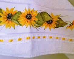 Toalha banho pintada m�o: Girass�is