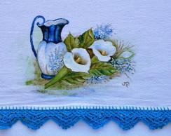 Pano de prato pintado a m�o com crochet