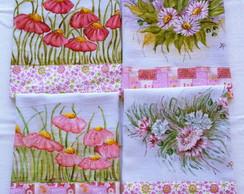 Pano de prato pintado � m�o: Flores