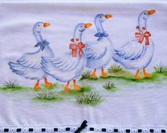 Pano de prato pintado a m�o: Patos