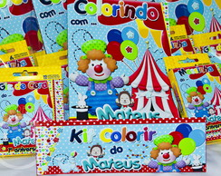 Kit colorir Circo c/giz e massinha