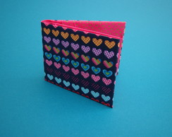 carteira origami tecido cora��es
