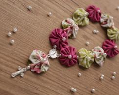 Mini ter�o de fuxico pink e verde floral