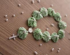 Mini ter�o de fuxico verde �gua misto