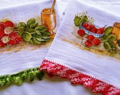 Pano de prato pintado a m�o: Rabanetes