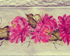 Toalha lavabo pintada a m�o: Crisantemos