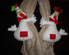 casal de galinhos prendedor de cortina
